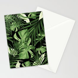 Tropical Jungle Night Leaves Pattern #5 #tropical #decor #art #society6 Stationery Cards