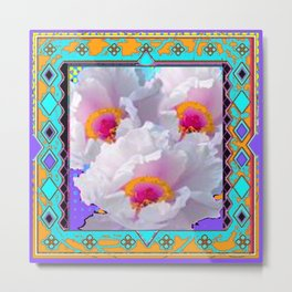 ORNATE & TURQUOISE-PURPLE WHITE PEONIES GARDEN ART Metal Print