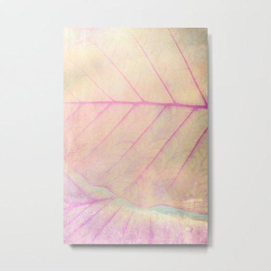 Pink Leaf Abstract Metal Print