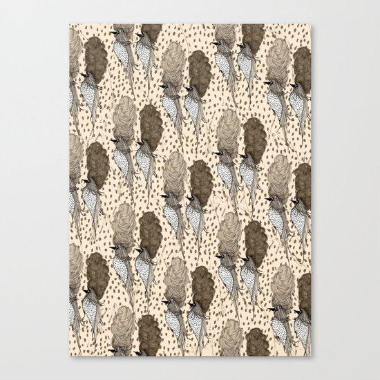 Bouffant Birds Pattern Canvas Print