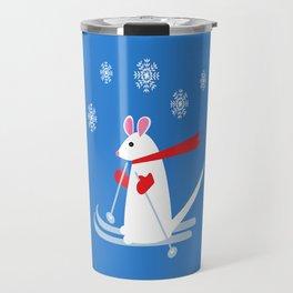 Christmas Mouse on Skis Travel Mug