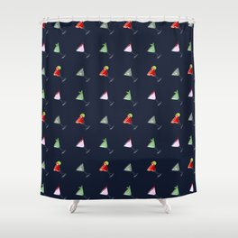 Seamless vector pattern with four colorful cocktail drinks Shower Curtain