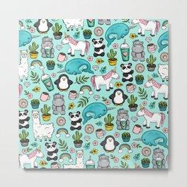 Narwhal and Friends, Emoji Tween Print, Pre-teen Girls, Unicorns, Panda, Llamas and Doughnuts Metal Print