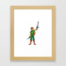 Warrior elf green cartoon illustration Framed Art Print