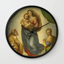 """Raffaello Sanzio da Urbino """"Sistine Madonna"""", 1513-1514 Wall Clock"""