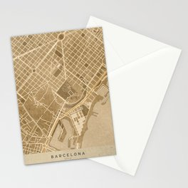 Vintage map of Barcelona in sepia Stationery Cards