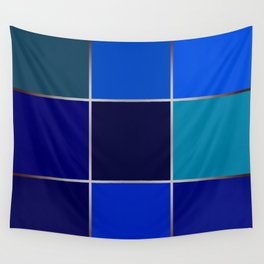 Cobalt , patchwork Wall Tapestry