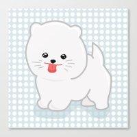 pomeranian Canvas Prints featuring White Pomeranian by Pati Designs