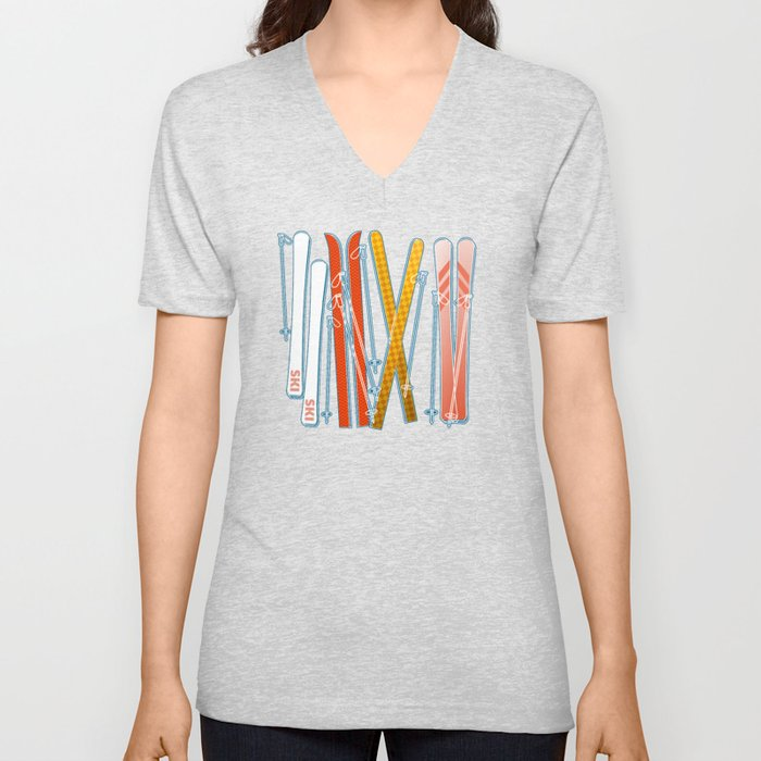 Colorful Ski Pattern Unisex V-Neck