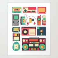 technology Art Prints featuring Retro Technology 1.0 by Ralph Cifra