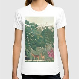 The Waterfall by Henri Rousseau 1910 // Jungle Waterfall Deer Indigenous People Flowers Plant Scene T-shirt