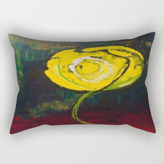 Golden Yellow Rose Acrylic Rectangular Pillow