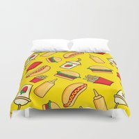 junk food Duvet Covers featuring tasty food by los_ojos_pardos