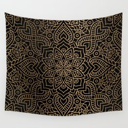 Black Gold Mandala Wall Tapestry