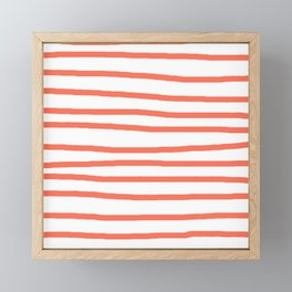 Simply Drawn Stripes in Deep Coral Framed Mini Art Print