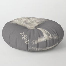 Palm tree - botanical silver illustration Floor Pillow