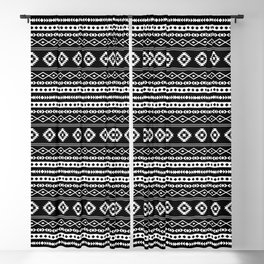 Aztec White on Black Mixed Pattern Blackout Curtain