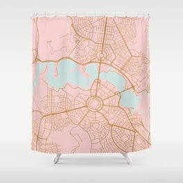 Pink and gld Canberra map Shower Curtain