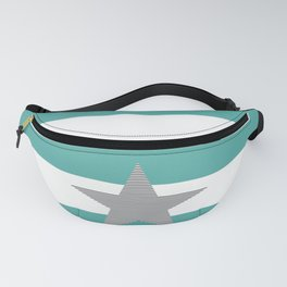 Strips - blue and white - black star. Fanny Pack