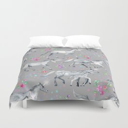 Unicorns and Stars on Soft Grey Duvet Cover