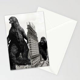 Godzilla and King Kong Visit The Flat Iron Building Stationery Cards