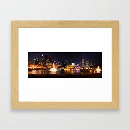 Chicago skyline and Buckingham Fountain at night. Framed Art Print