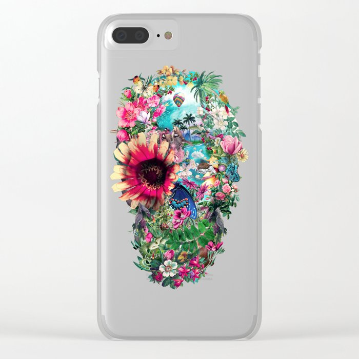 Summer Skull II Clear iPhone Case