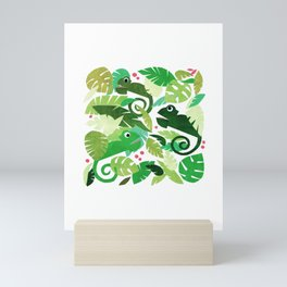 Green Chamaeleons – Illustration and Pattern Mini Art Print