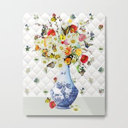 Butterfly Bouquet in Blue Willow Vase Metal Print