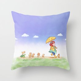 Duckling March Throw Pillow