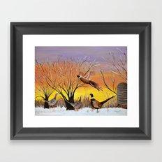 Pheasants in the sunrise Framed Art Print