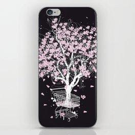 Blooming tree in shopping cart iPhone Skin
