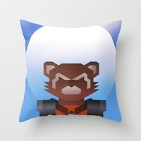rocket raccoon Throw Pillows featuring Guardians of the Galaxy - Rocket Raccoon by Casa del Kables
