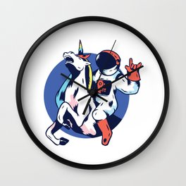 Space Astronaut Riding Unicorn Cosmic Funny Boys Girls Kids T-Shirt Wall Clock