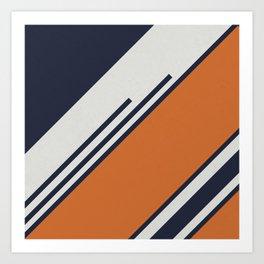 Retro Stripes in Blue Orange Art Print