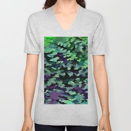Foliage Abstract Pop Art In Jade Green and Purple Unisex V-Neck