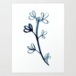 Deep Blue Botanical Watercolor Painting by Emma Freeman Designs Art Print