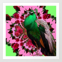 STATELY GREEN PEACOCK PINK-RED ROSES ABSTRACT Art Print