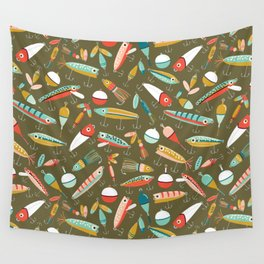 Fishing Lures Green Wall Tapestry