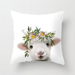 Lamb nursery art Throw Pillow