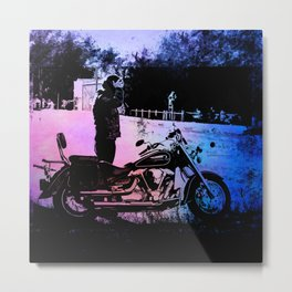 Biker with his motorcycle in a surreal landscape Metal Print