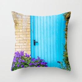 Blue door and flowers Throw Pillow