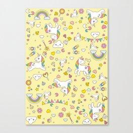 Unicorn Yellow Pattern Canvas Print