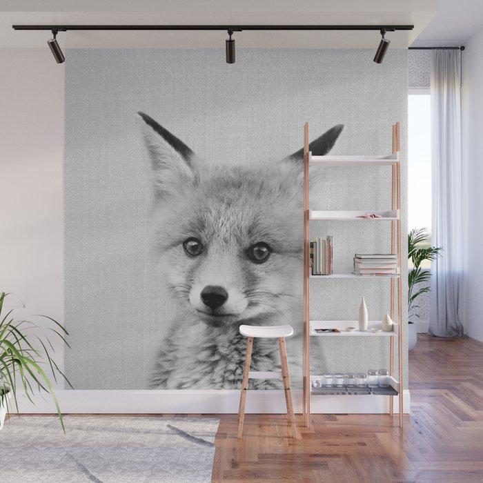 Baby Fox - Black & White Wall Mural