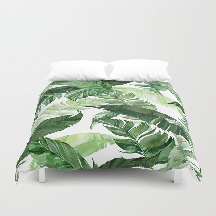 Green leaf watercolor pattern Duvet Cover