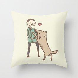 Man & Dog Throw Pillow