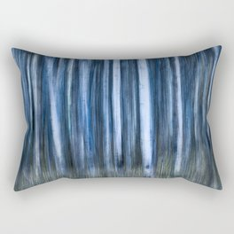 The Night's Forest - Ghostly Blue and White Trees Rectangular Pillow