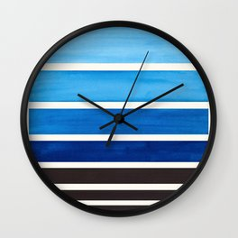 Prussian Blue Minimalist Watercolor Mid Century Staggered Stripes Rothko Color Block Geometric Art Wall Clock