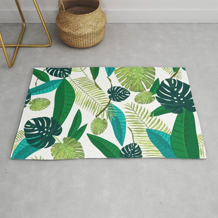 Tropical Green Leaves Rug