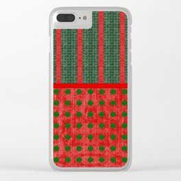 Christmas Red and Green Woven Stripes and Dots Clear iPhone Case